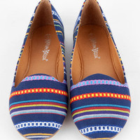 Leila Patterned Flats in Blue Tribal :: tobi