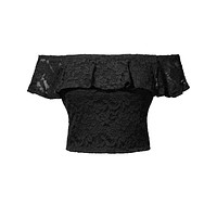 LE3NO Womens Stretchy Floral Lace Ruffled Sexy Off Shoulder Crop Top