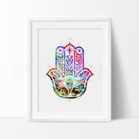 Hamsa Hand Watercolor Art Print
