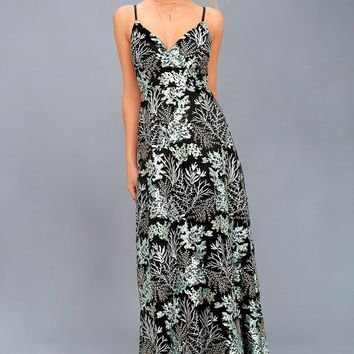 Night Blooms Black Embroidered Lace Maxi Dress