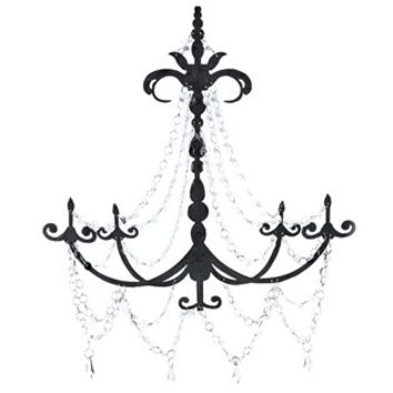 Black Metal Chandelier Wall Decor With Clear Gems Hobby Lobby