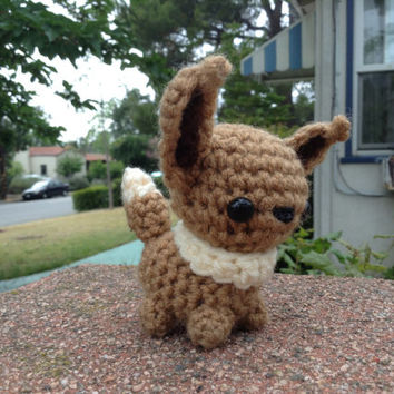 Crochet mini Eevee crochet amigurumi chibi doll plush toy pokemon