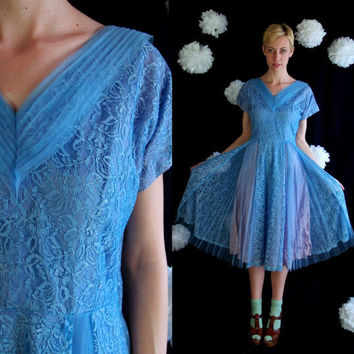 vintage 50s blue LACE Full Skirt Tulle COCKTAIL by TigerlilyFrocks
