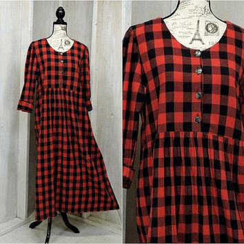 Red flannel dress  size L / buffalo plaid maxi dress / 90s grunge / oversized / long flannel dress / made in USA
