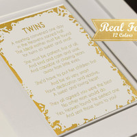 """Real Gold Foil Print With Frame (Optional) """"Twins Poem"""" Nursery Decor, Baby Shower, Twins Baby Gift, Nursery Decor, Gifts For Mom, Present"""