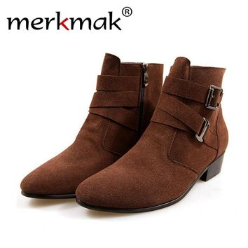 Merkmak New British Style Autumn Winter Ankle Boots Heels Men Shoes Pointed Toe Martin Boots Casual Men PU Leather Suede  Boots