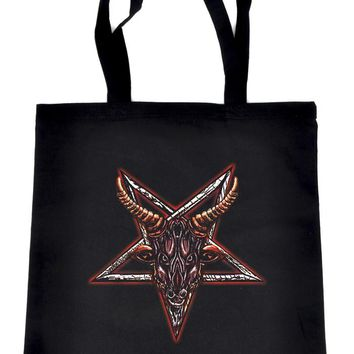 Sigil of Baphomet Sabbatic Goat Head Crossbody Sling Bag Tote Bag Book Handbag Occult Metal