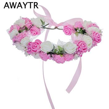 Brand New Wreath Flower Crown Women Kids Head Wreath Wedding Bridal Hair Accessories Hot Double Foam Rose Floral Hair for Girls
