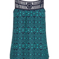 Sea Green Crochet Top Patterned Tank - Sea Green Combo