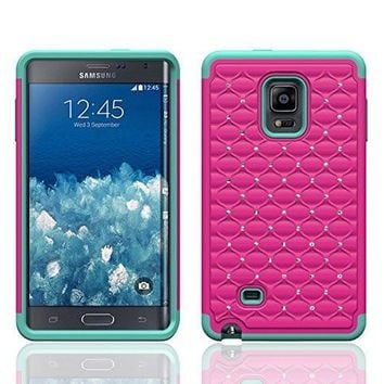 Galaxy Note 4 Case, Crystal Rhinestone Studded Hybrid Dual Layer Shock Absorbent Case for Samsung Galaxy Note 4 - Hot Pink/Teal