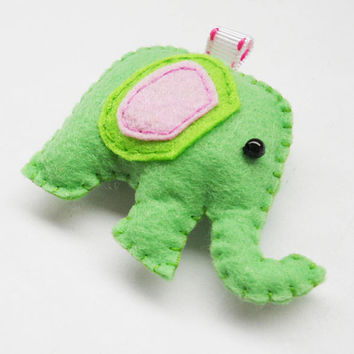 Felt elephant ornament, keychain, charm, available custom made different color