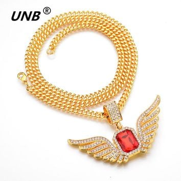 UNB 2017 Hip Hop Angel Wings with Big Red Stone Pendant Necklace Men Women Iced Out Jewelry Crystal Many Rhinestones Necklaces