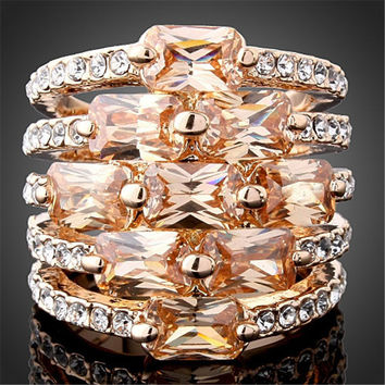 9 Champagne Sapphire Rings Rose Gold Plated CZ Crystal Ring anel Wedding Engagement Band Fashion Jewelry Size 6/7/8/9 R145