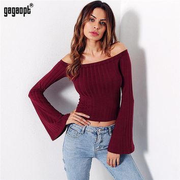 New Crop Top Off Shoulder Flare Sleeve Sexy T Shirt Women Tees Solid 4 Color Cropped Casual Party Ladies Tops