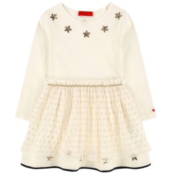 Girls Ivory Fancy Multi-Fabric Dress