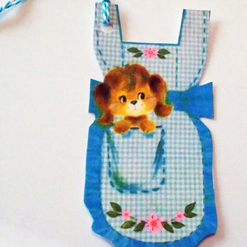 Blue Apron Tags - Retro Apron - Gift Tags - Set of 3 - Pocket Puppy Tag - Apron Shape Tags - 1950's Aprons - Puppy Tags - Vintage Kitchen