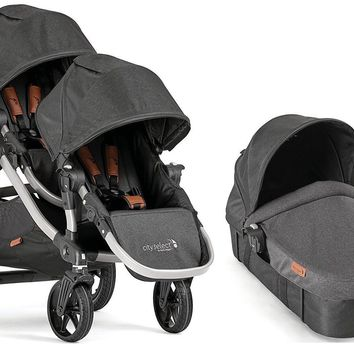 Baby Jogger City Select Twin Double Stroller Anniversary Second Seat & Bassinet