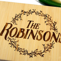 Personalized Engraved Cutting Board, Family Name, Kitchen Decor, Wedding Gift, Housewarming, Engagement, Bride and Groom, Christmas Gift