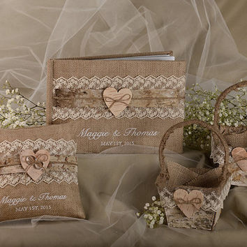 Burlap Natural Birch Bark Wedding  Set, Guest Book, Rustic  Guestbook,  Shabby Chic Burlap Ring Bearer Pillow, Birch Bark Baskets