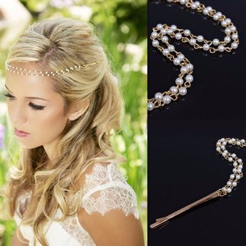 New Shiny Pearl Headband Golden Wedding Party Tiara Hair bands Bridal Hair Accessories Flower Girls Hairpins Jewelry