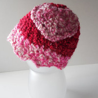 Baby Beanie Crochet with heart - Red and Pink - Ready to Ship