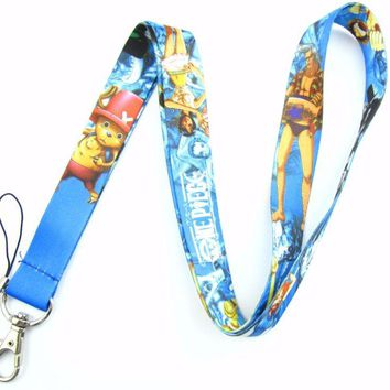 Brand New One Piece Characters Blue Lanyard
