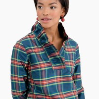 Steward Plaid Ruffle Tunic