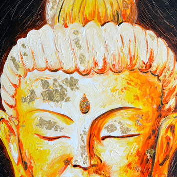 Warm Glow Buddha Original Oil Painting