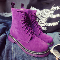 2017 Brand Autumn Winter Women Leather Ankle Boots Heels Martin Boots Woman Flat Shoes Pink Purple SIZE 36-40 Free Shipping