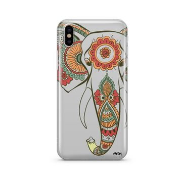 Colored Tribal Elephant - Clear TPU Case Cover