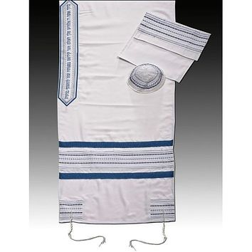 Solid White And Blue Background Designer Embroider