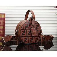 FENDI Newest Popular Women Circular Leather Handbag Tote Shoulder Bag Crossbody Satchel Brown