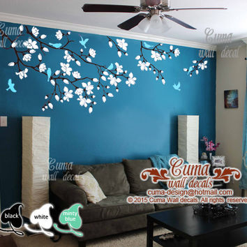 Cherry Blossom Wall Decals Nursery White Flowers Vinyl Decal Tree Birds Sticker Kids