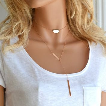 Initial Necklace Choker, Choker Necklace, Personalized Half Disc, Half Circle Necklace, Rose Gold necklace, Hammered Necklace, Gold, Silver
