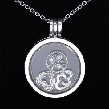 Real 925 Sterling Silver Necklace Love Heart & Family Petites Charm Locket Necklace For Women Wedding Gift Fine Jewelry