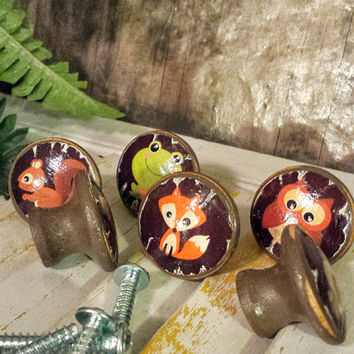 Handmade Knobs Drawer Pulls Set of 6 Woodland Animals, Distressed Style, Cabinet Pull Handles, Dresser Knob Pulls, We Make Customized Orders