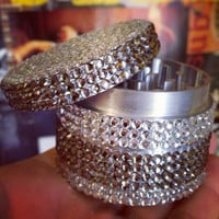 Alternating Clear & Gray Rhinestone Covered Grinder