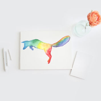 Watercolor Rainbow Fox Silhouette card, hand painted gift card, DIY printable, Watercolour Jumping Fox greeting card, blank card, 8x5