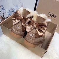UGG New Fashion Women Large Bow Tie Keep Warm Snow boots Shoes