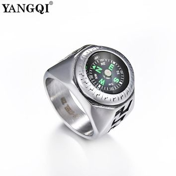 YANGQI Stainless Steel Sailing Rings with Compass Cool Outdoor Sports Rings Striped Engraved Punk Style Biker Jewelry for Male