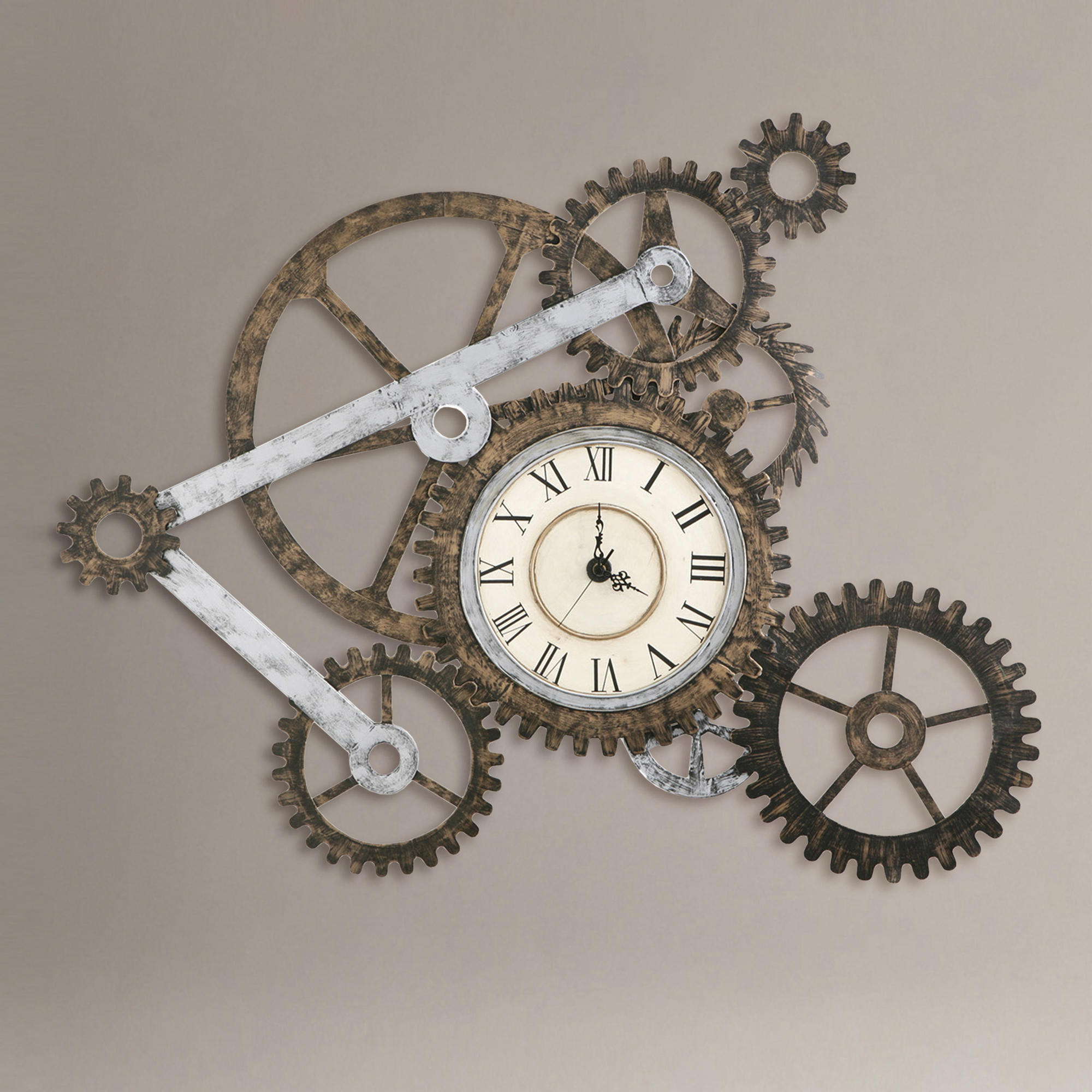 Gear wall art with clock world market from cost plus world for World market wall decor