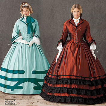 Women's Civil War Era Collared Shirtwaist Gown Historical Costume Andrea Schewe Bust 38 40 42 44 46 Simplicity 1818 UNCUT Sewing Patterns