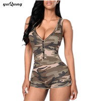 Sexy Camo/cami short jumpsuit romper Dungarees for women macacao curto feminino clothing v neck one piece Playsuit Bodysuit