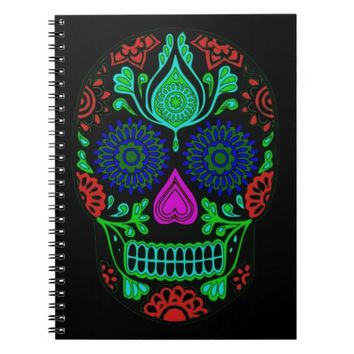 Colorful Sugar Skull Spiral Notebook