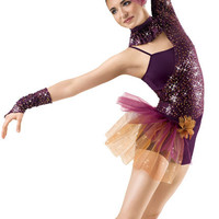 Asymmetrical Sequin Lace Leotard; Weissman Costume