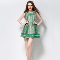 Green Printed Sleeveless Sheath A-Line Pleated Mini Dress