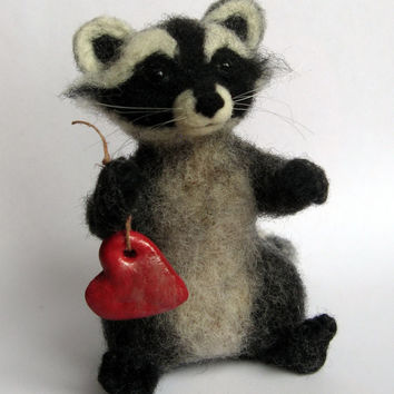 Felt Raccoon, MADE to ORDER ONLY, Felted Raccoon, Red Heart, Valentines Day, Cupid Raccoon, White Black Gray Striped Animal, Woolen Toy