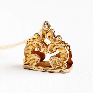 Antique Victorian Fob Necklace - Vintage Rosy Yellow Gold Filled Victorian Early 1900s Filigree Swirled Charm Watch Fob Pendant Jewelry