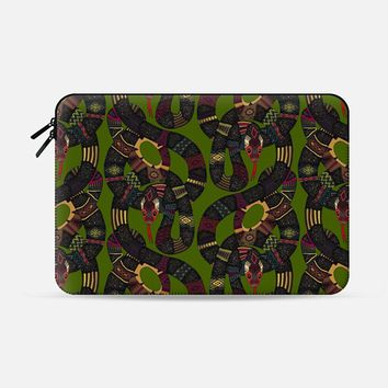 geo snakes green Macbook Pro 13 sleeve by Sharon Turner | Casetify