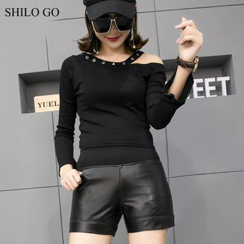 SHILO GO Leather Shorts Womens Autumn Fashion sheepskin genuine leather Shorts stretch high waist concise black shorts